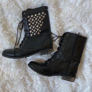 Material Girl Combat Boots w/metal stud detailing